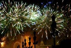 Fuochi d'artificio a Barcellona Spagna Fotografia Stock Libera da Diritti