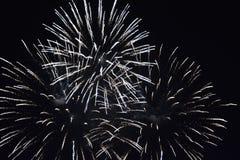 Fuochi d'artificio bianchi alla notte Fotografia Stock Libera da Diritti
