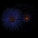 Fuochi d'artificio blu e gialli Immagini Stock Libere da Diritti
