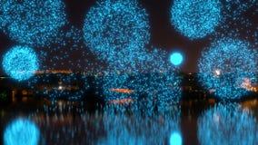 Fuochi d'artificio blu luminosi sopra il fiume stock footage