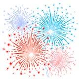 Fuochi d'artificio blu rossi Immagini Stock