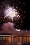 Fuochi d'artificio a Bratislava Immagine Stock