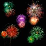 Fuochi d'artificio brillantemente variopinti Immagine Stock Libera da Diritti
