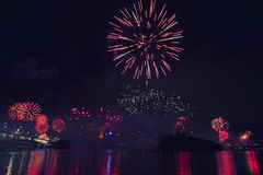 Fuochi d'artificio a Brisbane - 2014 Fotografia Stock