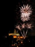 Fuochi d'artificio a Brno Immagine Stock