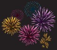 Fuochi d'artificio realistici Immagini Stock Libere da Diritti