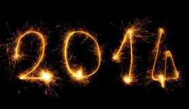 Fuochi d'artificio che scrivono 2014 Fotografia Stock Libera da Diritti