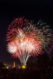 Fuochi d'artificio che si spengono davanti ad una grande folla Immagini Stock
