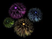 Fuochi d'artificio in cielo notturno Immagine Stock