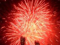 Fuochi d'artificio - colore rosso Immagini Stock