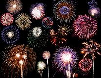 Fuochi d'artificio compositi Immagini Stock
