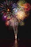 Fuochi d'artificio con le riflessioni Fotografia Stock Libera da Diritti