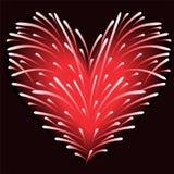 Fuochi d'artificio dal cuore Fotografie Stock