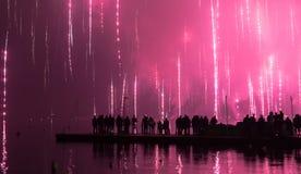 Fuochi d'artificio dal lago Fotografie Stock Libere da Diritti