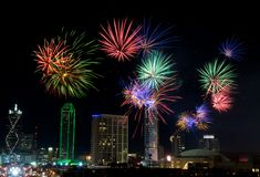 Fuochi d'artificio - Dallas il Texas fotografie stock libere da diritti