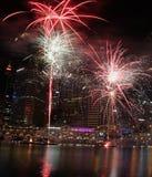 Fuochi d'artificio, Darling Harbour, Sydney Fotografie Stock