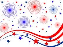 Fuochi d'artificio del 4 luglio Fotografie Stock