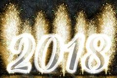 Fuochi d'artificio del buon anno 2018 Fotografia Stock