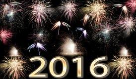 Fuochi d'artificio del buon anno 2016 Immagine Stock