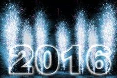 Fuochi d'artificio del buon anno 2016 Fotografia Stock