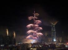 Fuochi d'artificio del Dubai Fotografie Stock Libere da Diritti