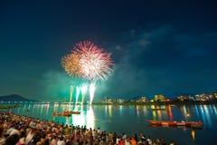 Fuochi d'artificio del fiume di Kiso Immagine Stock