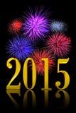 Fuochi d'artificio del nuovo anno 2015 Fotografie Stock