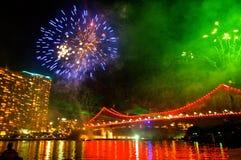 Fuochi d'artificio del ponte della città di Brisbane Fotografia Stock Libera da Diritti