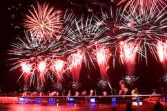 Fuochi d'artificio del ponte di Ventspils Immagine Stock