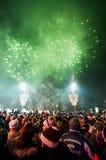 Fuochi d'artificio del ` s del nuovo anno a Belgrado Fotografie Stock Libere da Diritti
