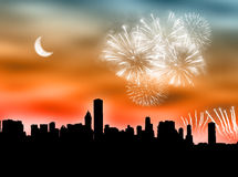 Fuochi d'artificio della città Immagini Stock