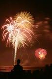 Fuochi d'artificio della spiaggia Fotografia Stock Libera da Diritti