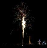 Fuochi d'artificio della spiaggia di Coney Island Fotografia Stock