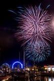 Fuochi d'artificio della spiaggia di Kemah Immagini Stock