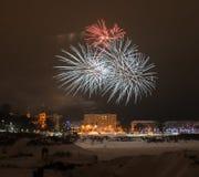 2015 fuochi d'artificio della vigilia del nuovo anno Fotografia Stock Libera da Diritti
