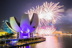 Fuochi d'artificio delle celebrazioni SG50 nella città di Singapore, Singapore Immagini Stock