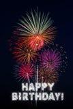 Fuochi d'artificio di buon compleanno Fotografie Stock