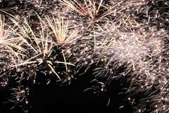 Fuochi d'artificio di celebrazione del falò che accendono il cielo di inverno immagine stock