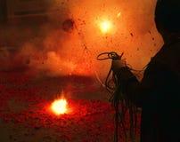 Fuochi d'artificio di Chinatown Fotografie Stock Libere da Diritti