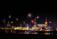 Fuochi d'artificio di Dresda Fotografia Stock Libera da Diritti