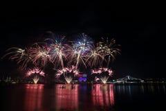 Fuochi d'artificio di festa nazionale di Singapore 2016 3 Fotografia Stock