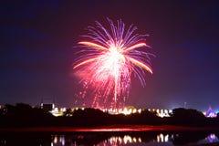 Fuochi d'artificio di festival dell'isola di Wight Immagini Stock Libere da Diritti