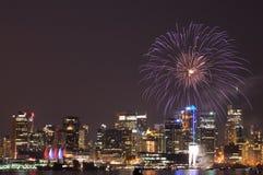 Fuochi d'artificio di giorno del Canada a Vancouver Fotografia Stock Libera da Diritti