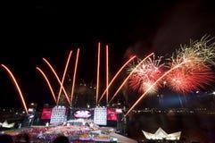 Fuochi d'artificio di giorno nazionale di Singapore Immagini Stock
