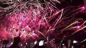 Fuochi d'artificio di giorno di salvezza, Smirne, Turchia stock footage