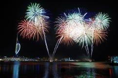 Fuochi d'artificio di Gunwharf, Portsmouth fotografia stock