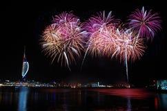Fuochi d'artificio di Gunwharf, Portsmouth Immagine Stock
