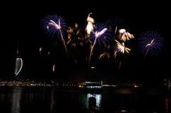 Fuochi d'artificio di Gunwharf, Portsmouth Fotografie Stock
