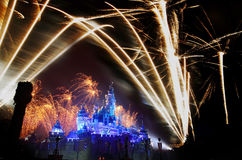 Fuochi d'artificio di Hong Kong Disneyland Fotografia Stock