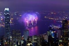 Fuochi d'artificio di Hong Kong durante l'nuovo anno cinese Fotografia Stock Libera da Diritti